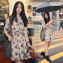 INEN - Elbow-Sleeve Floral Print A-Line Mini Chiffon Dress