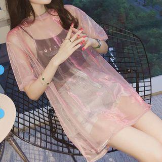 Hanji - Set: Lettering Camisole Top + Mesh Short-Sleeve Top