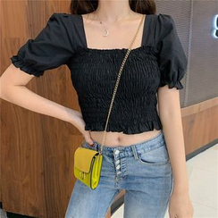 Windflower - Square-Neck Puff-Sleeve Cropped Top