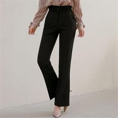 Styleberry - Flat-Front Boot-Cut Pants