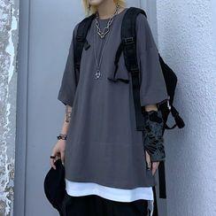 Shineon Studio - Mock Two Piece Color Block Elbow Sleeve T-Shirt
