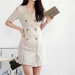 CHICLINE - Double-Breasted Stripe Linen Blend Coatdress