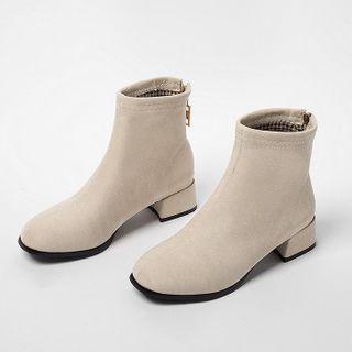 Megan - Plain Block Heel Short Boots