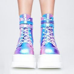 Sunsteps - Platform Wedge Heel Buckled High-Top Sneakers