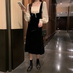 Antoinine - Puff-Sleeve Shirred Paneled Midi A-Line Dress