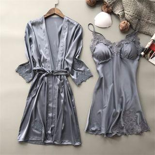 Almilo - Pajama Set: Crochet Trim Pajama Dress + Tie-Waist Robe