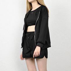 Cafamo - 套裝: 拉鏈連帽衫 + 短款背心 + 寬腿運動短褲