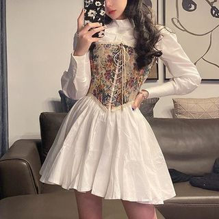 Rhames - Lace-Up Floral Corset / Mock-Neck Shirtdress