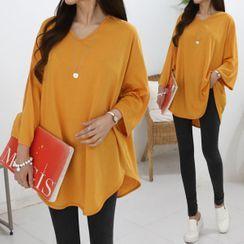 Seoul Fashion - V-Neck Drop-Shoulder T-Shirt