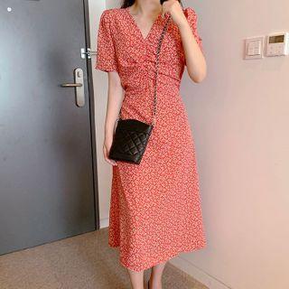 Aumoti - Flower Print Short-Sleeve Midi Shift Dress