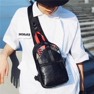 SUNMAN - Faux Leather Printed Sling Bag