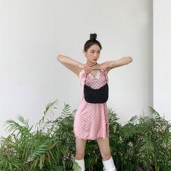 PPGIRL - Lace-Trim Polka-Dot Slipdress