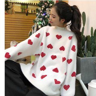 Whoosh - Heart Print Mock-Neck Oversize Sweater