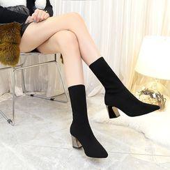 clog & wings - Block Heel Knit Short Boots