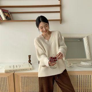 FROMBEGINNING - V-Neck Rib-Knit Sweater
