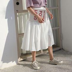 SOMUI - Plain Midi A-Line Skirt