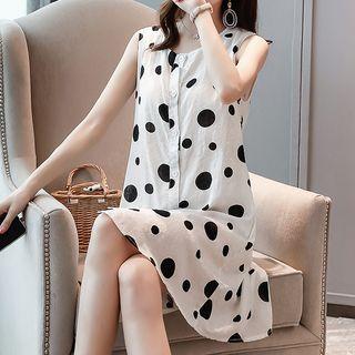 Goldeon - Dotted Sleeveless A-Line Dress