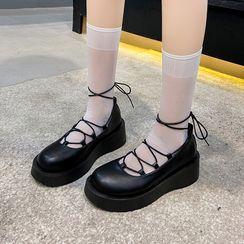Moonwalk - Platform Lace Up Mary Jane Shoes