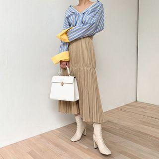 chuu - Long Accordion-Pleat Skirt