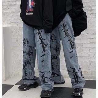 Banash(バナッシュ) - Printed Straight-Cut Jeans