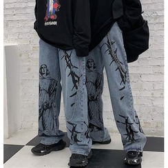 Banash - Printed Straight-Cut Jeans