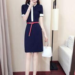 MARGOT - 配色邊飾領塑身連衣裙