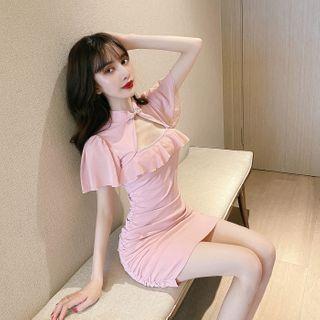 Yvoire - Mandarin Collar Ruffle Trim Cutout Mini Bodycon Dress