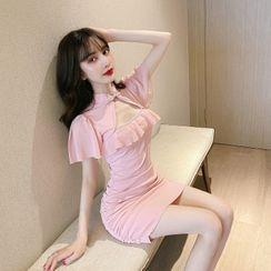 Yvoire - 中式领荷叶边镂空迷你塑身连衣裙