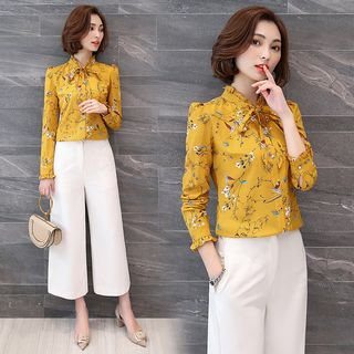 In the Mood - Floral Print Long-Sleeve Chiffon Blouse