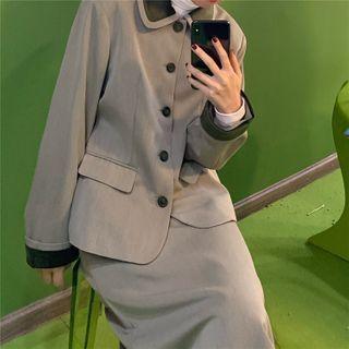 PINPI - Long-Sleeve Single Breasted Blazer / High-Waist Plain Skirt