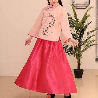 Snow Hymn - Kids Hanfu Set: Frog Button Embroidered Floral Top + Maxi Skirt