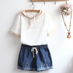 akigogo - 套装: 短袖小猫刺绣上衣 + 牛仔短裤