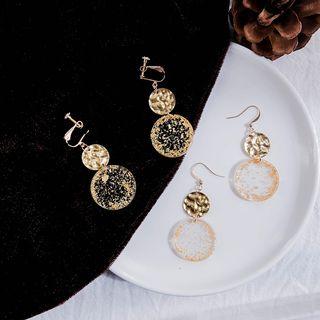 Jasminte - Gold Leaf Disc Dangle Earring
