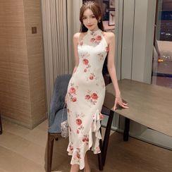 Gelbes - Sleeveless Floral Ruffle Hem Midi Bodycon Dress