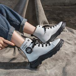 Shanhoo - 厚底印字繫帶短靴