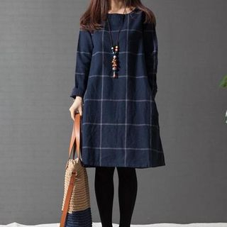 Long Sleeved Plaid Dress