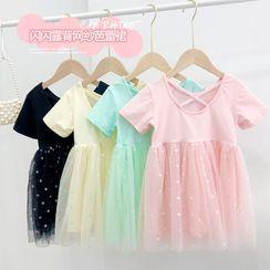 Shaneebabe - Kids Short-Sleeve A-Line Mesh Dress