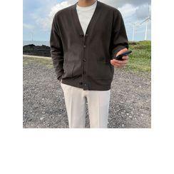 JOGUNSHOP - V-Neck Pocket-Front Cardigan