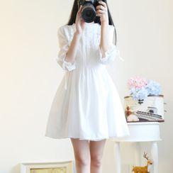 Petit Lace - 3/4-Sleeve Lace Panel Mini A-Line Dress