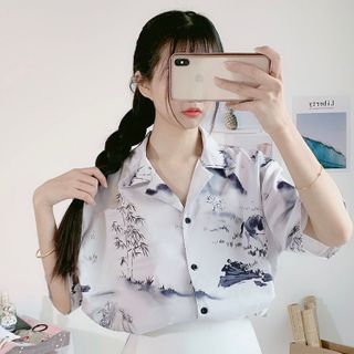 Sisyphi - Elbow-Sleeve Printed Shirt