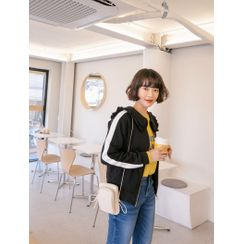 J-ANN - Frilled Sailor-Collar Piped Zip-Up Jacket