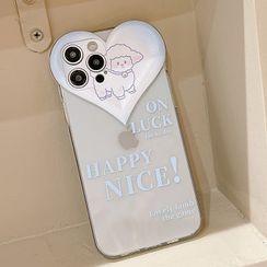 likamika - Heart Transparent Mobile Case - iPhone 13 Pro Max / 13 Pro / 13 / 13 mini / iPhone 12 Pro Max / 12 Pro / 12 / 12 mini / 11 Pro Max / 11 Pro / 11 / SE / XS Max / XS / XR / X / SE 2 / 8 / 8 Plus / 7 / 7 Plus