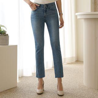 CLICK - Hidden Band-Waist Semi Boot-Cut Jeans