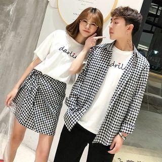 Azure - Couple Matching Plaid Short-Sleeve Shirt / Mini Skirt