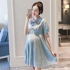 Empressa - 孕妇短袖条纹迷你百褶连衣裙