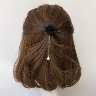 Twin Bear - Faux Pearl Flower Bow Hair Clip