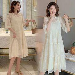 EZ Life - Maternity Set: Slipdress + Lace Elbow-Sleeve A-Line Dress