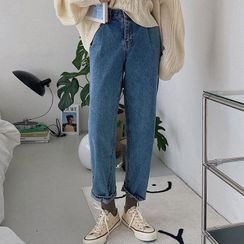 MERONGSHOP - Washed Baggy Jeans