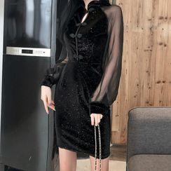 Bobin - Mesh Panel Long-Sleeve Mini Sheath Dress