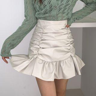 LIPHOP - Frilled-Hem Ruched Mini Pleather Skirt